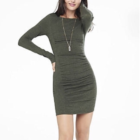 1569162e9ec Express Dresses   Skirts - Express Ruched Long Sleeve Sweater Dress - Olive